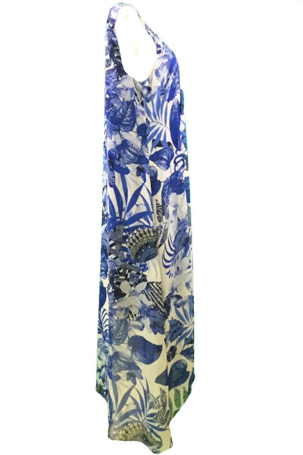 Michael Tyler Collections Blue print maxidress - Front Full Image