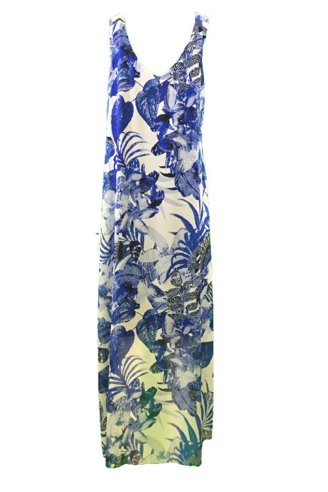 Michael Tyler Collections Blue print maxidress - Side Cropped Image