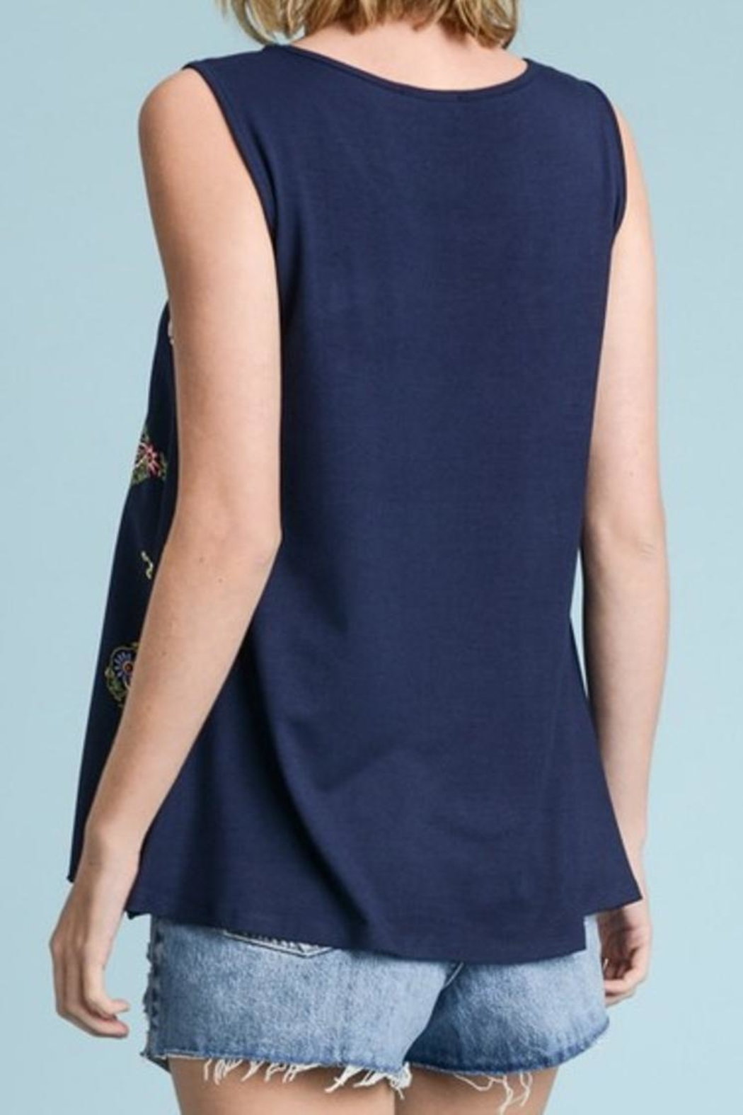Les Amis Blue Printed Tank - Front Full Image