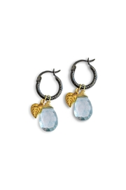 Malia Jewelry Blue-Quartz Leaf Hoops - Product Mini Image