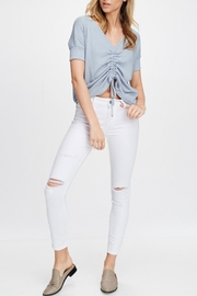 Maronie  Blue Ruched Top - Front cropped