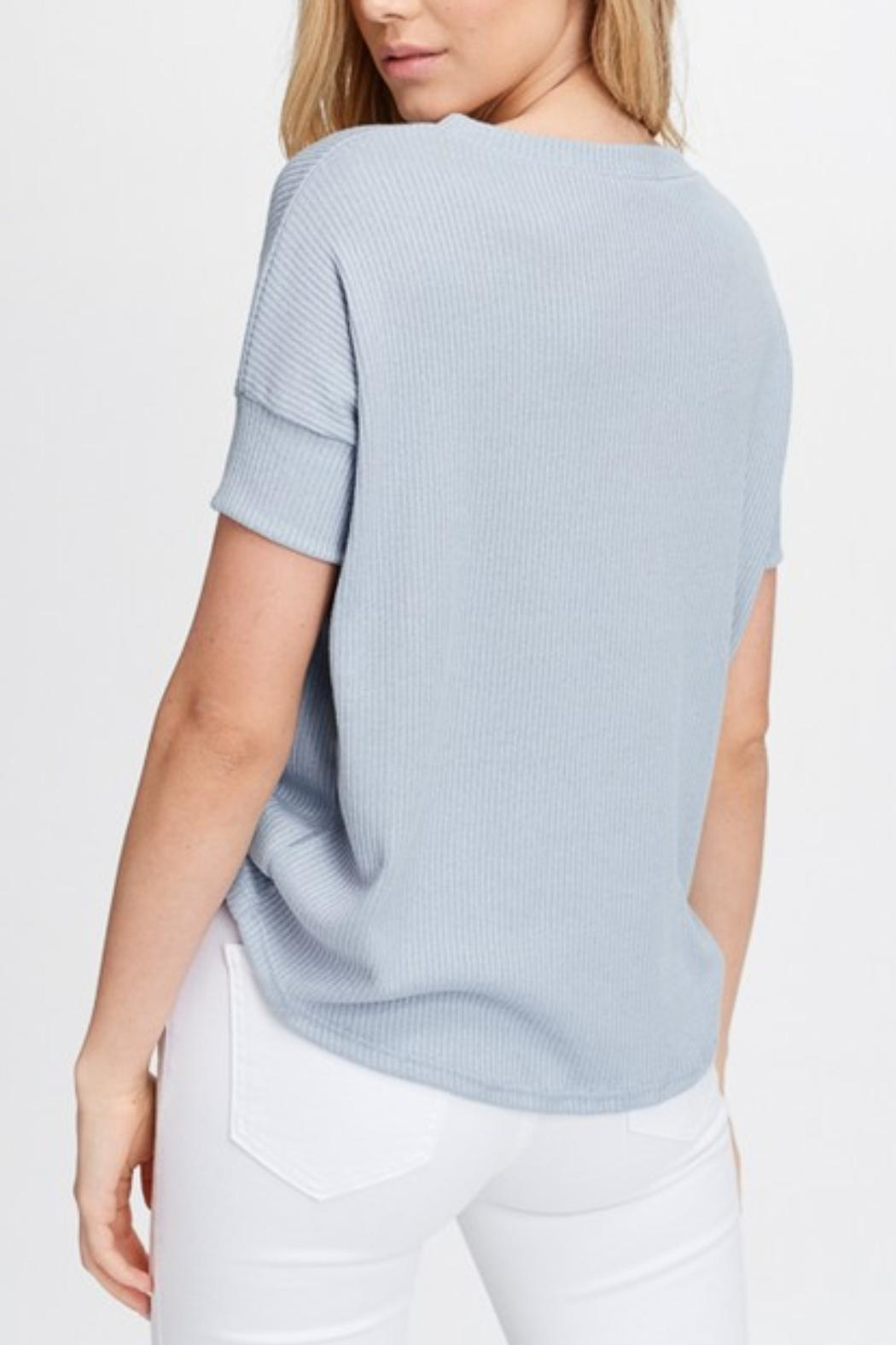 Maronie  Blue Ruched Top - Side Cropped Image