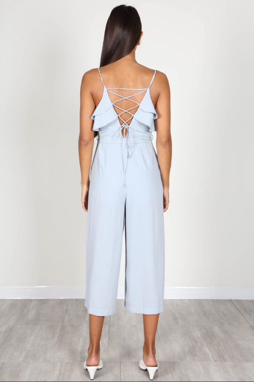 essue Blue Ruffle Jumpsuit - Front Full Image