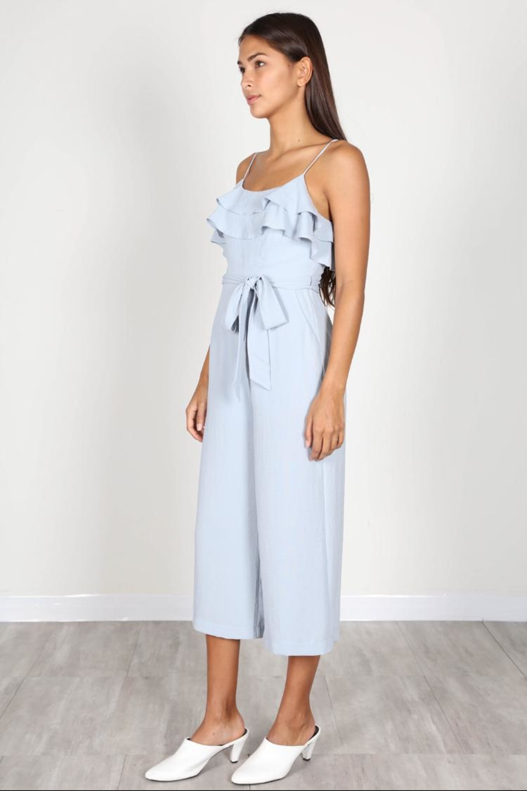 essue Blue Ruffle Jumpsuit - Side Cropped Image