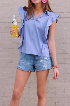 Shoptiques Product: Blue Ruffle Top