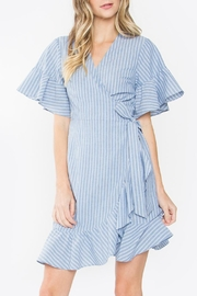 Sugarlips Blue Ruffle Wrap-Dress - Product Mini Image