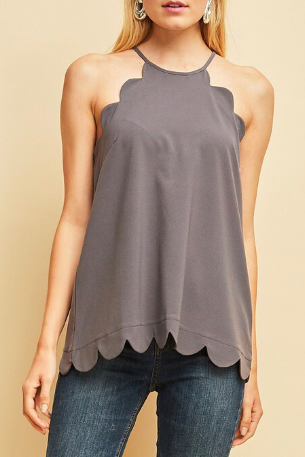 LuLu's Boutique Scallop Tank - Main Image