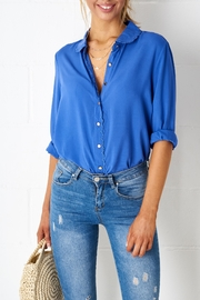 frontrow Blue Scalloped Blouse - Product Mini Image