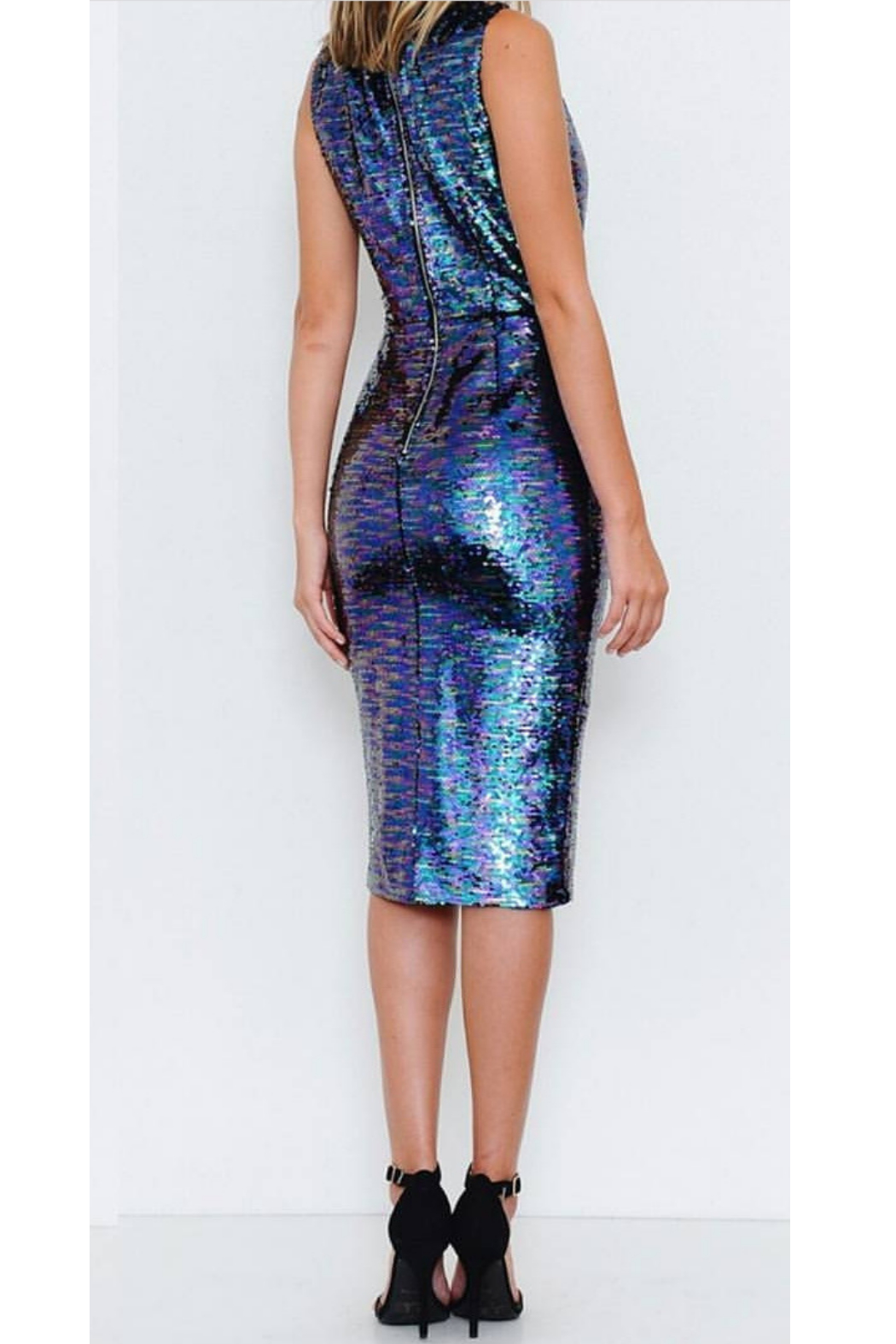 L'atiste Blue Sequence Bodycon Dress - Front Full Image