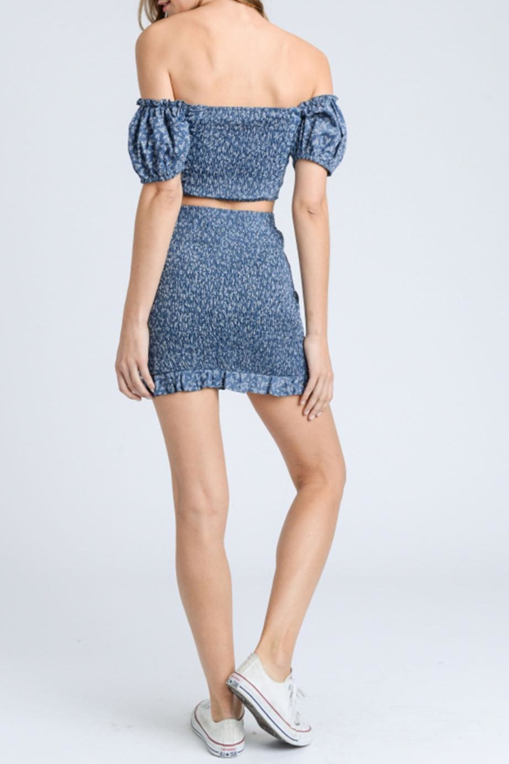storia Blue Smocked Skirt - Back Cropped Image
