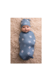 The Birds Nest BLUE STARS COCOON AND HAT - Front cropped