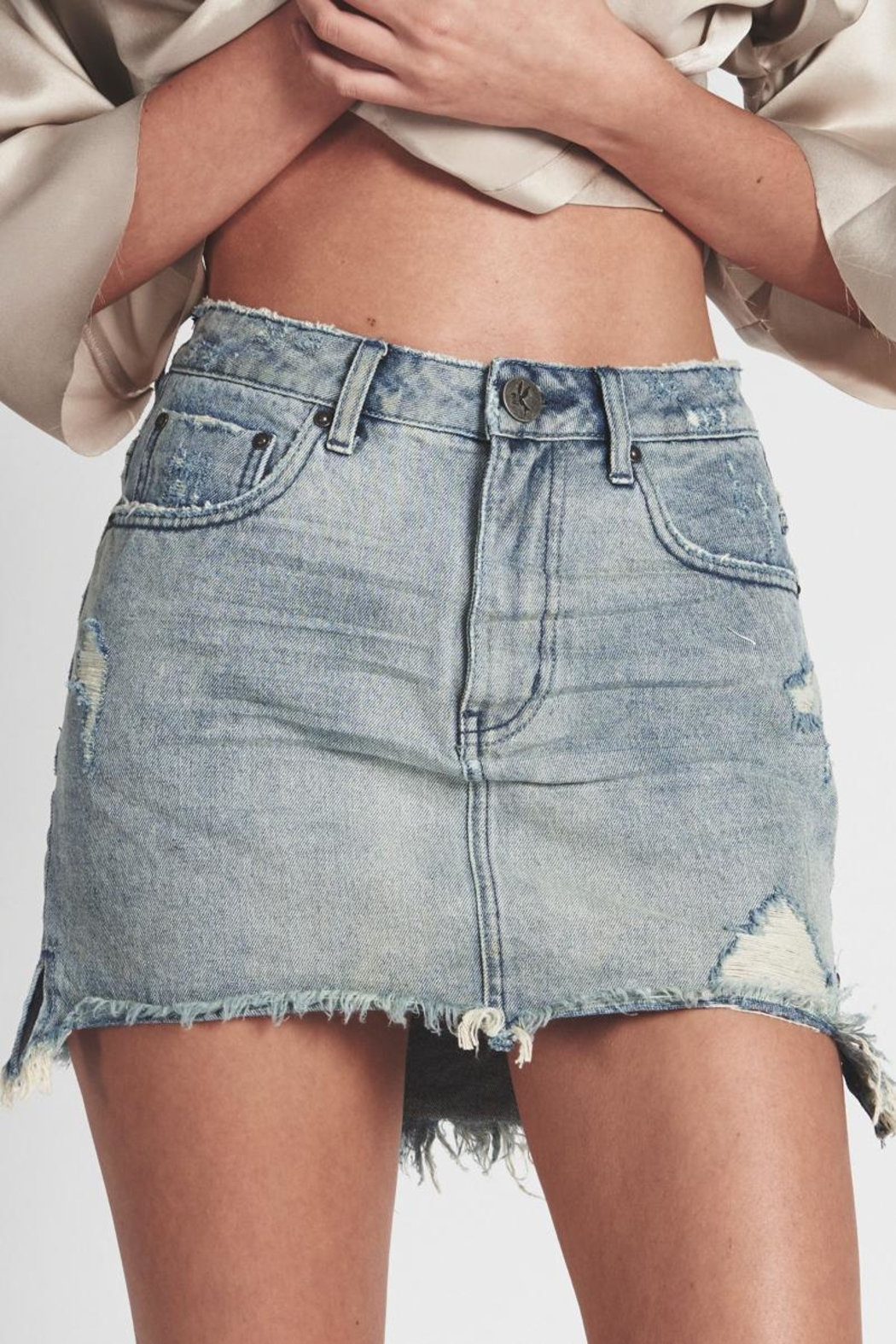 One Teaspoon Blue-Storm Denim Skirt - Front Cropped Image