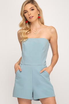 She + Sky Blue Strapless Romper - Product List Image