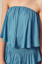 Mustard Seed  Blue Strapless Tiered Romper - Front full body