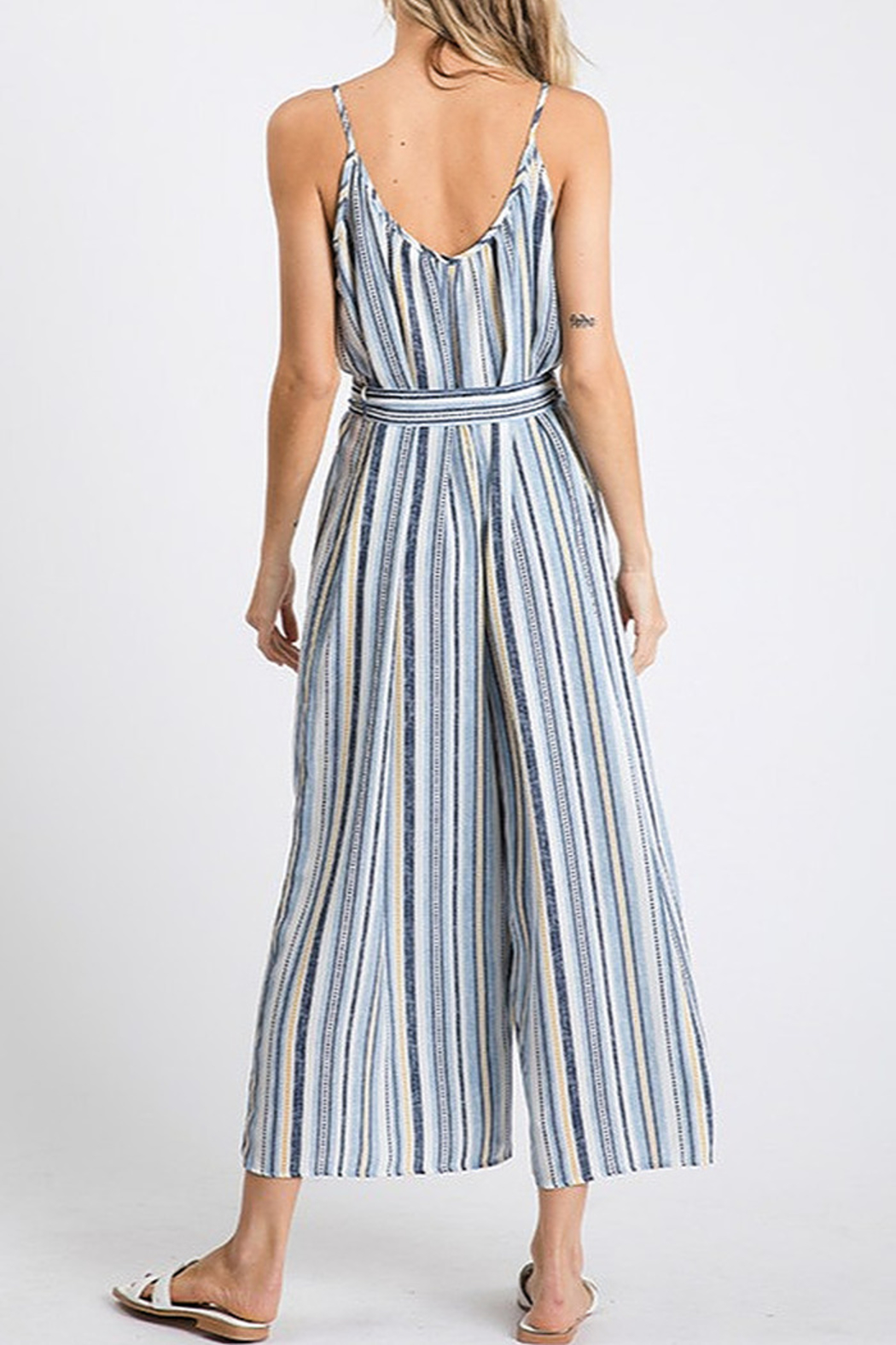 CY Fashion Blue Stripe Jumpsuit - Front Full Image