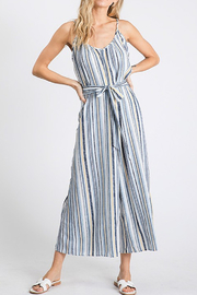 CY Fashion Blue Stripe Jumpsuit - Front cropped