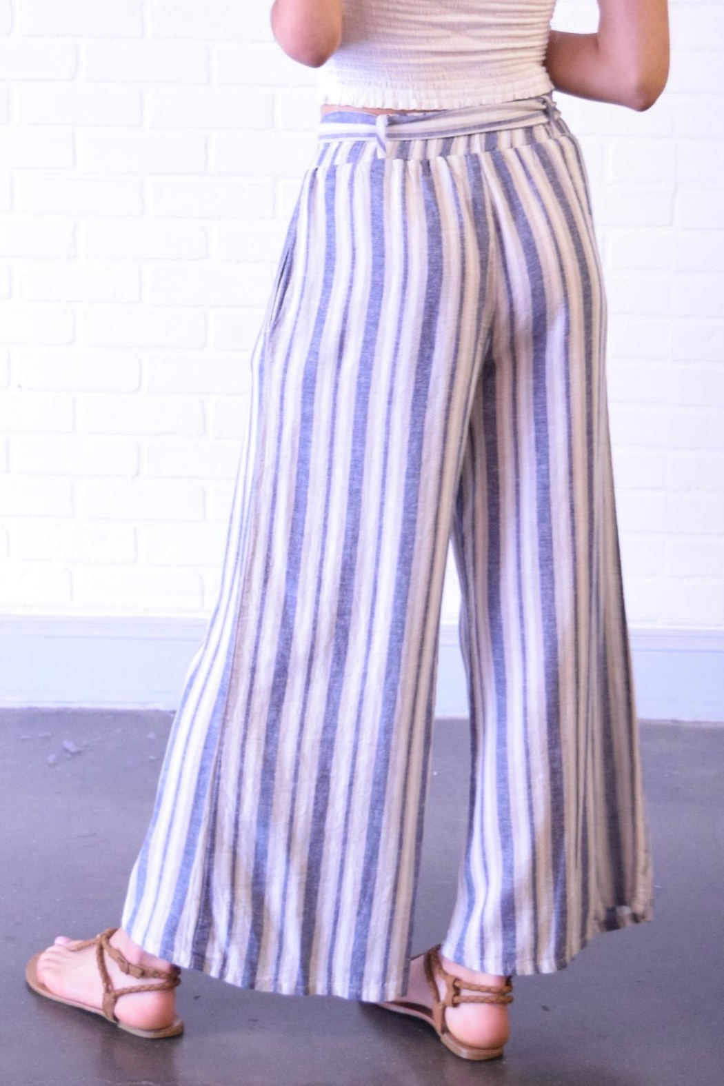 Final Touch Blue Stripe Pants - Side Cropped Image