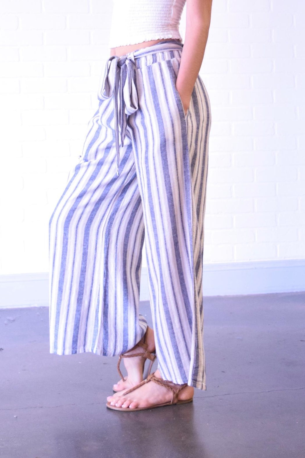Final Touch Blue Stripe Pants - Front Full Image