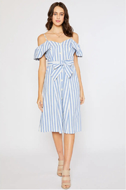 Bluivy Blue Striped Buttons Dress - Product Mini Image