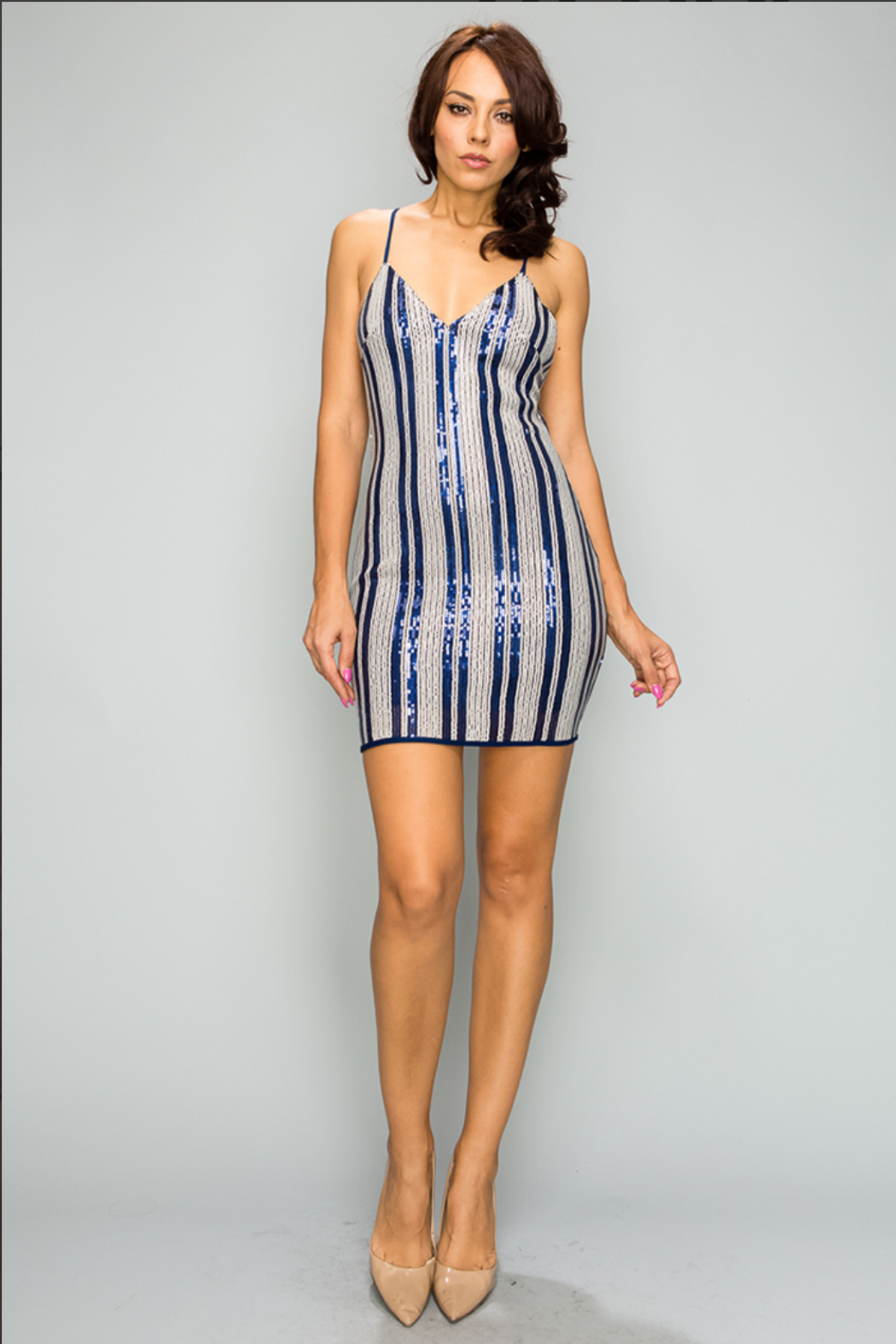 privy Blue Striped Mini - Front Cropped Image