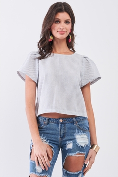 Sugarlips Blue Striped Self-Tie Back Triple Detail Puff Short Sleeve Exposed Back Crop Top - Product List Image