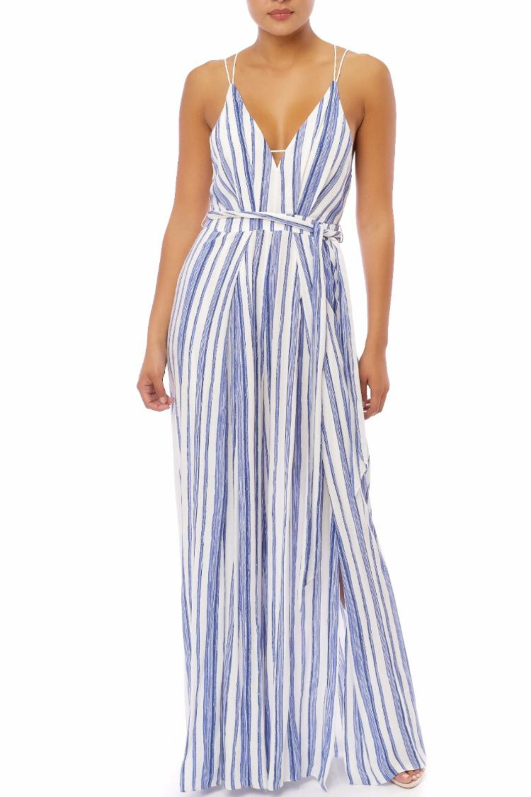 luxxel Blue Stripes Jumpsuit - Front Cropped Image