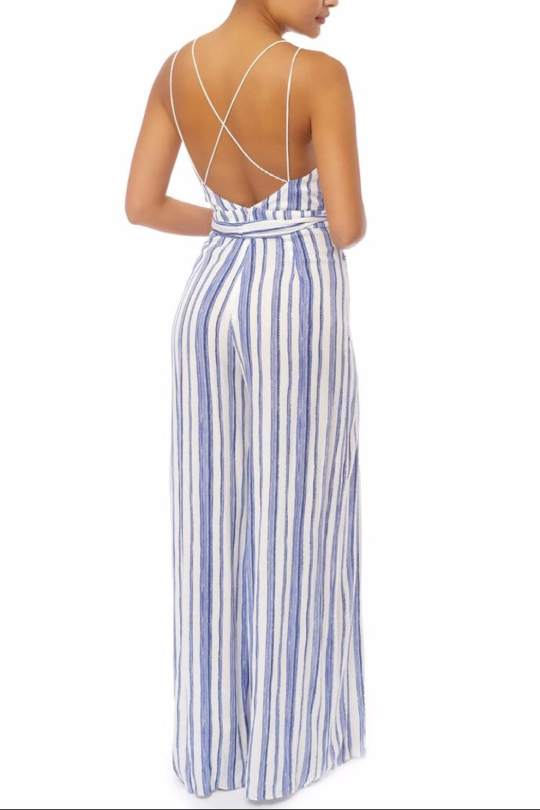 luxxel Blue Stripes Jumpsuit - Front Full Image