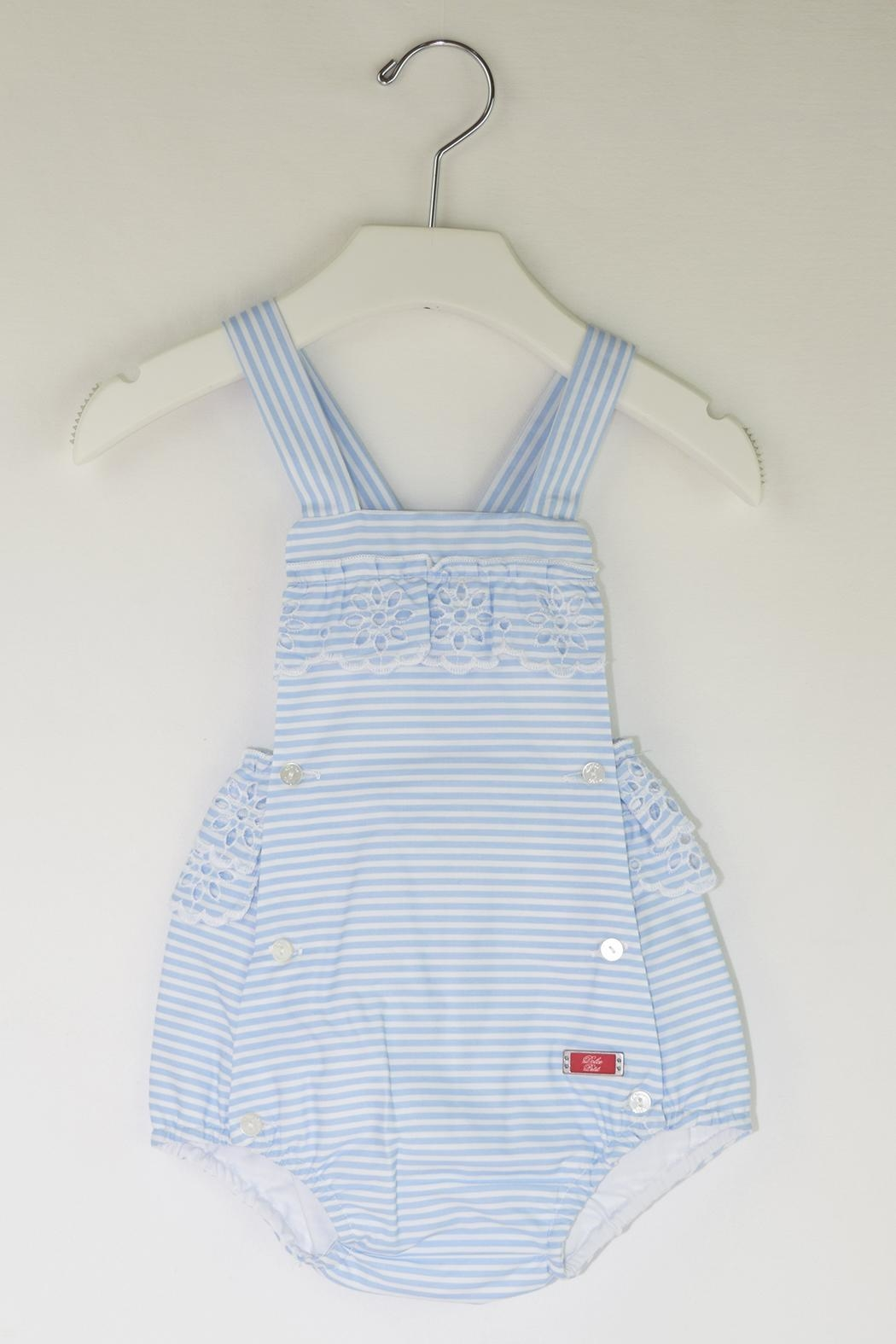 Dolce Petit Blue Stripes Romper - Front Cropped Image