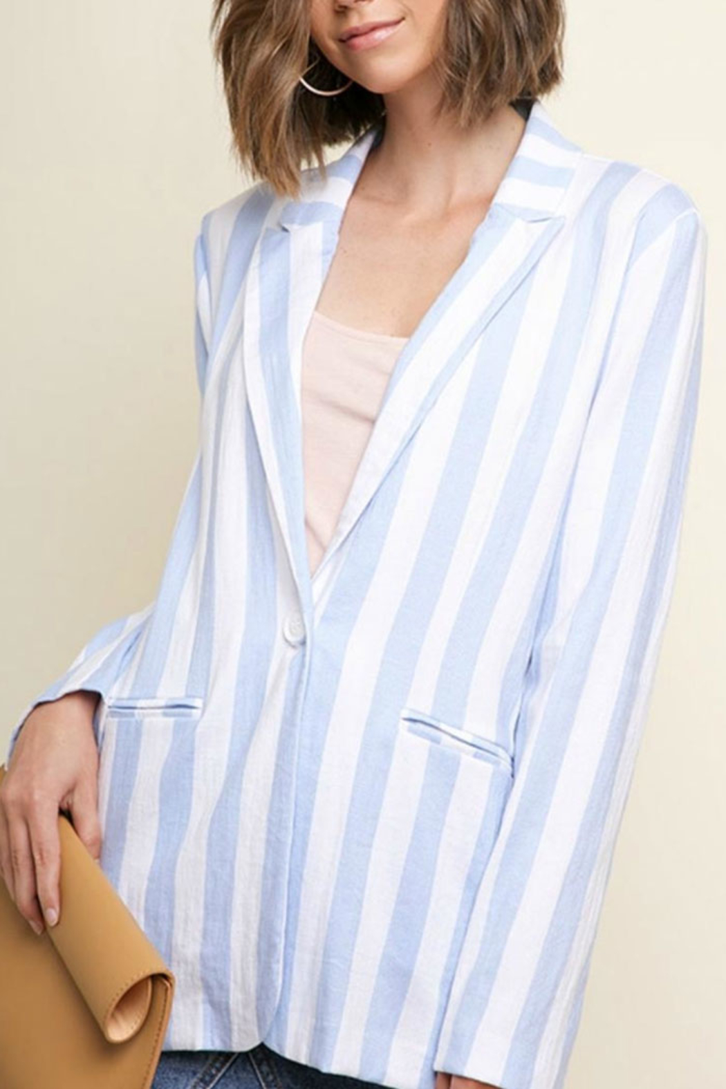 Umgee USA Blue Stripped Blazer - Front Cropped Image