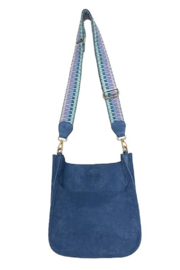 Ahdorned Blue Suede Messenger - Front cropped