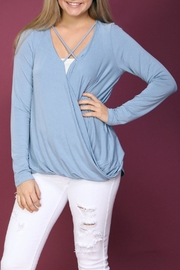 Wishlist Blue Surplice Top - Front cropped