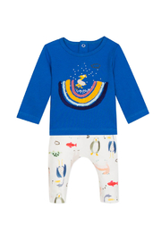 Catimini Blue T-Shirt and Penguin Jogger Outfit - Front cropped