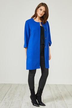 Urban Touch Blue Texturedsmart Coatjacket - Product List Image