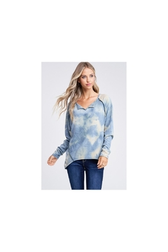 White Birch Blue tie dye soft knit top  with raglan sleeves and high low hemline - Product List Image