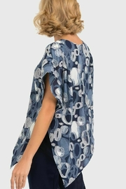 Joseph Ribkoff Blue top with circular print overlay - Front full body
