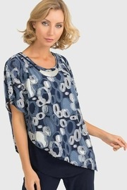 Joseph Ribkoff Blue top with circular print overlay - Front cropped