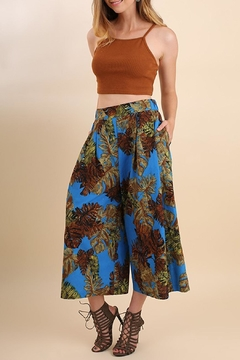 Shoptiques Product: Blue-Tropical-Print Gaucho Pant