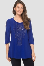 Joseph Ribkoff  Blue Tunic with geometrical Gold Rhinestone design - Product Mini Image