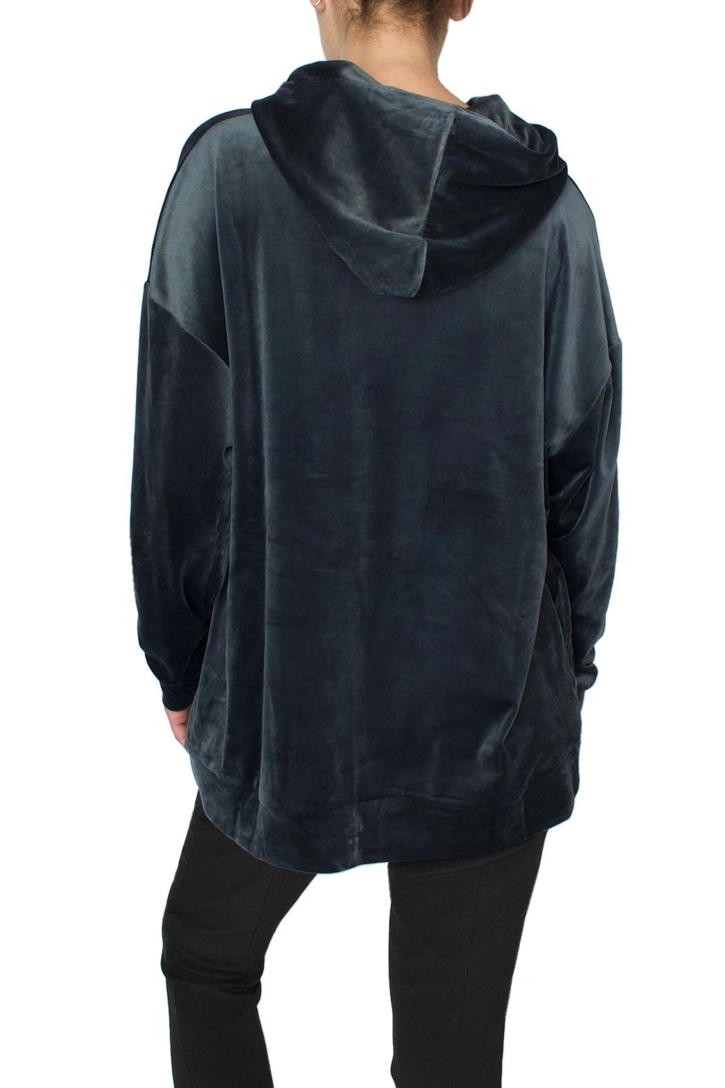 Native Youth Blue Velour Hoodie - Side Cropped Image