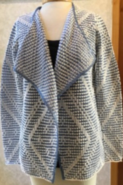 Renuar Textured blue & White cardigan - Front cropped