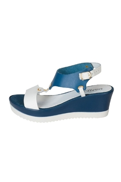 Shoptiques Product: Blue & White T-Bar-Wedge