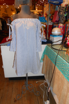 My Beloved Blue/White Vertical Striped Top - Product List Image