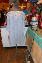 My Beloved Blue/White Vertical Striped Top - Product Mini Image
