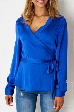 frontrow Blue Wrap Top - Product List Image