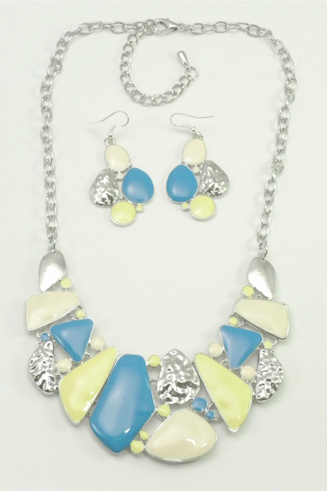 Mimi's Gift Gallery Blue Yellow Necklace Set - Front Cropped Image