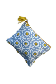 Chloe & Lex Blue Yellow XO Medium Pouch - Product Mini Image