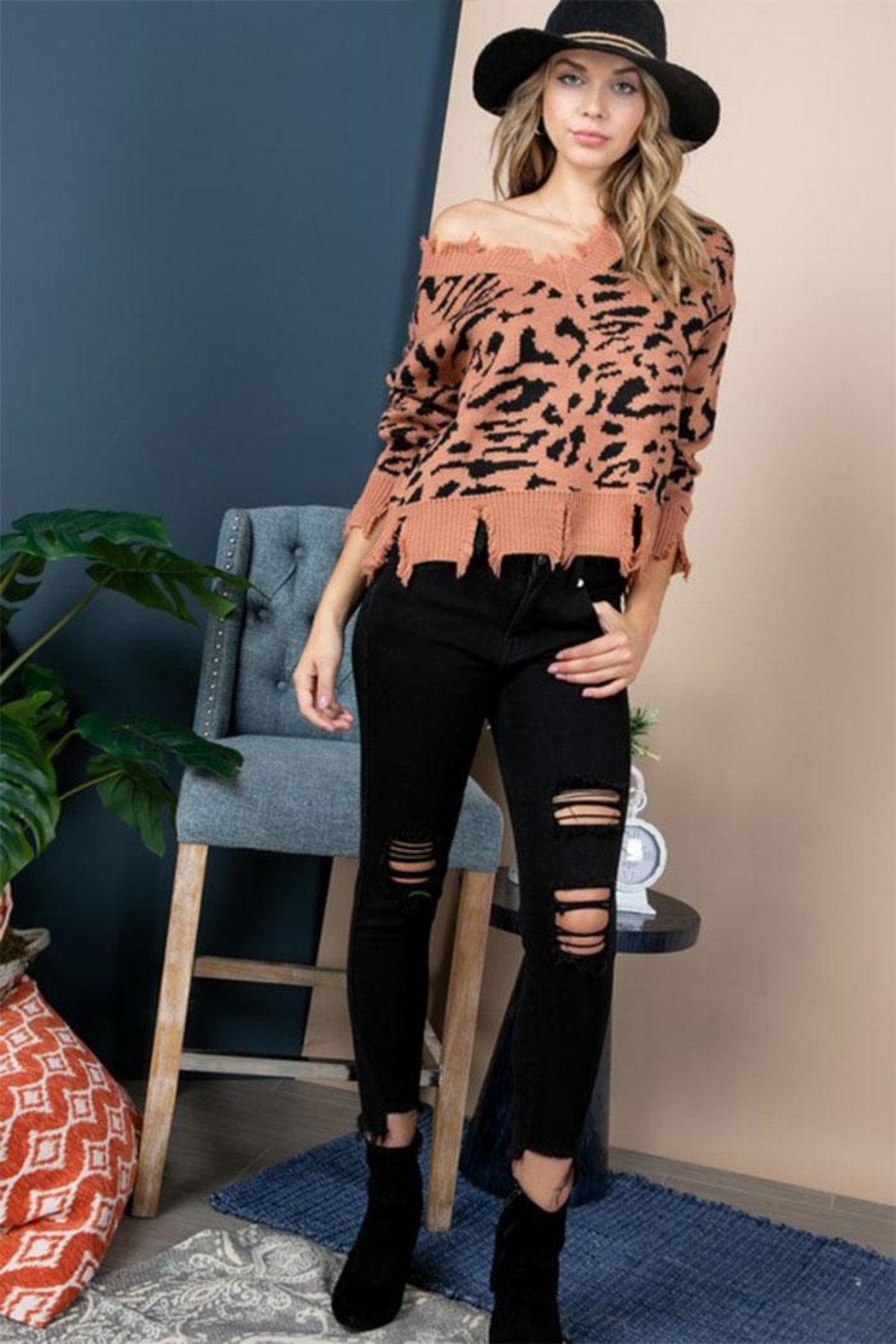 Blue B Animal Print Distressed-Sweater - Front Full Image