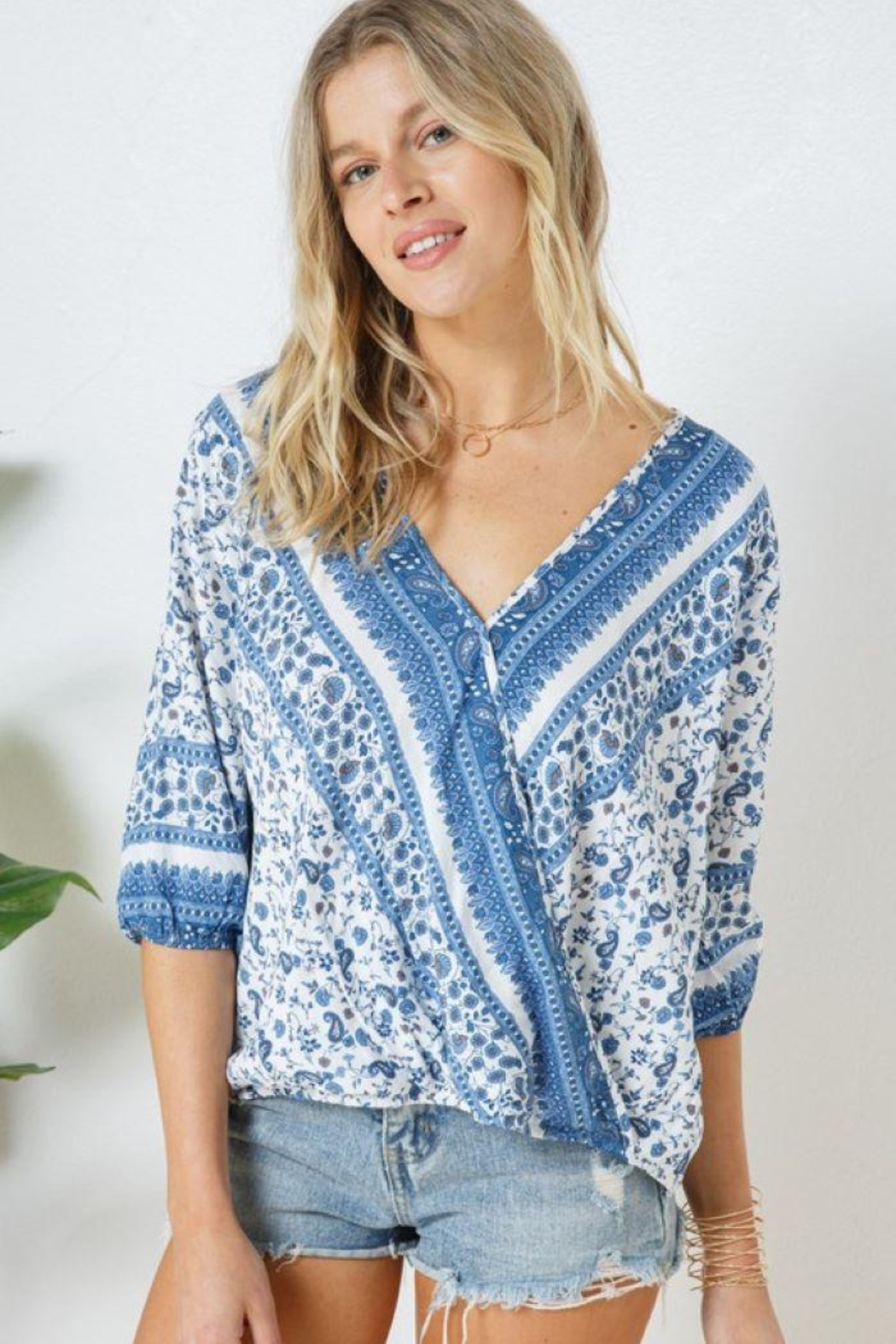 Blue B Boho Print Cross Front Layer  Top - Side Cropped Image