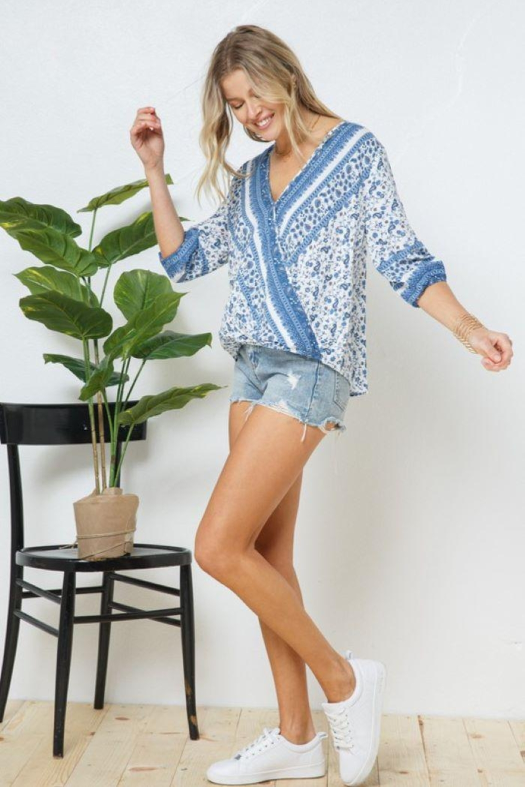 Blue B Boho Print Cross Front Layer  Top - Front Full Image