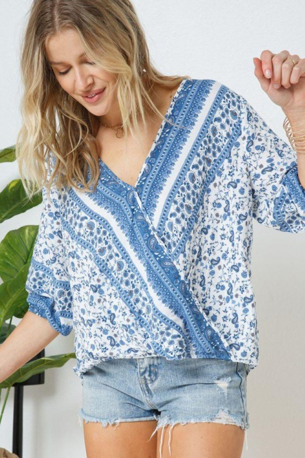 Blue B Boho Print Cross Front Layer  Top - Back Cropped Image